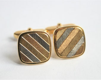 Vintage gold and silver coloured cufflinks. Square cufflinks. Striped cufflink