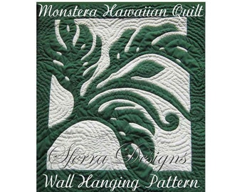 "Hawaiian Monstera Pattern, Quilted Wall Hanging, Pattern and Instructions, Swiss Cheese Philodendron, Hand Drawn Pattern, 29"" X 32"""