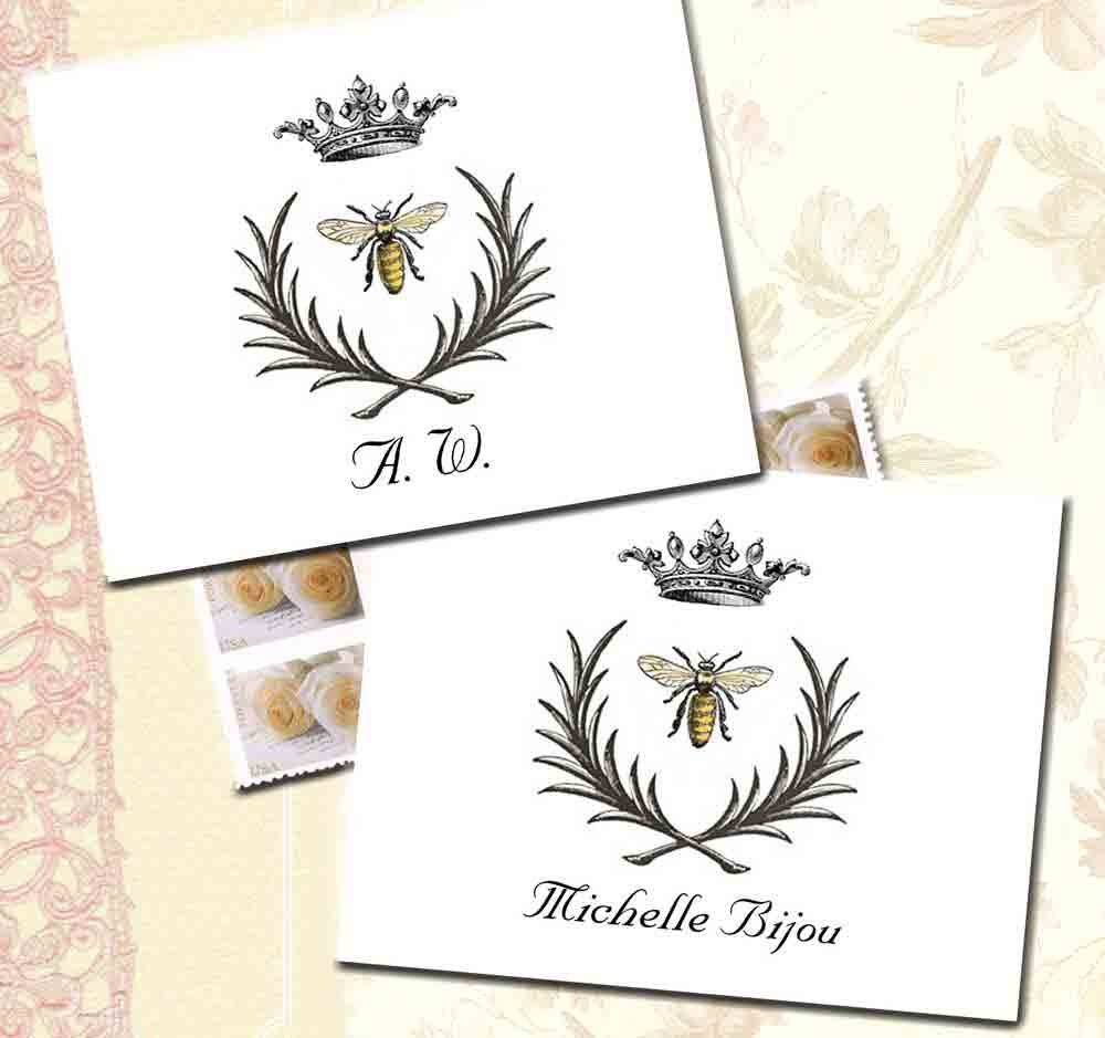 Napoleonic Bee Note Cards Bee Crown And Wreath Custom Name Etsy