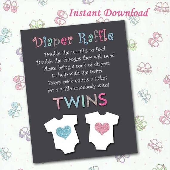 diaper raffle twins onesies instant download diy printable etsy