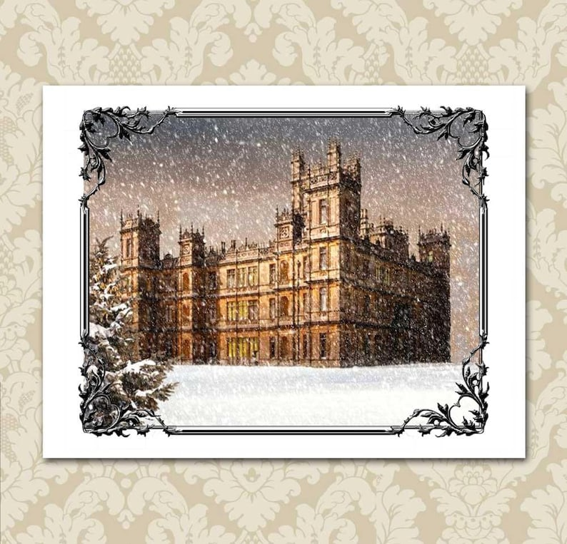 f0a156f40e3 Downton Abbey Christmas Card or Note Card Downton In The Snow