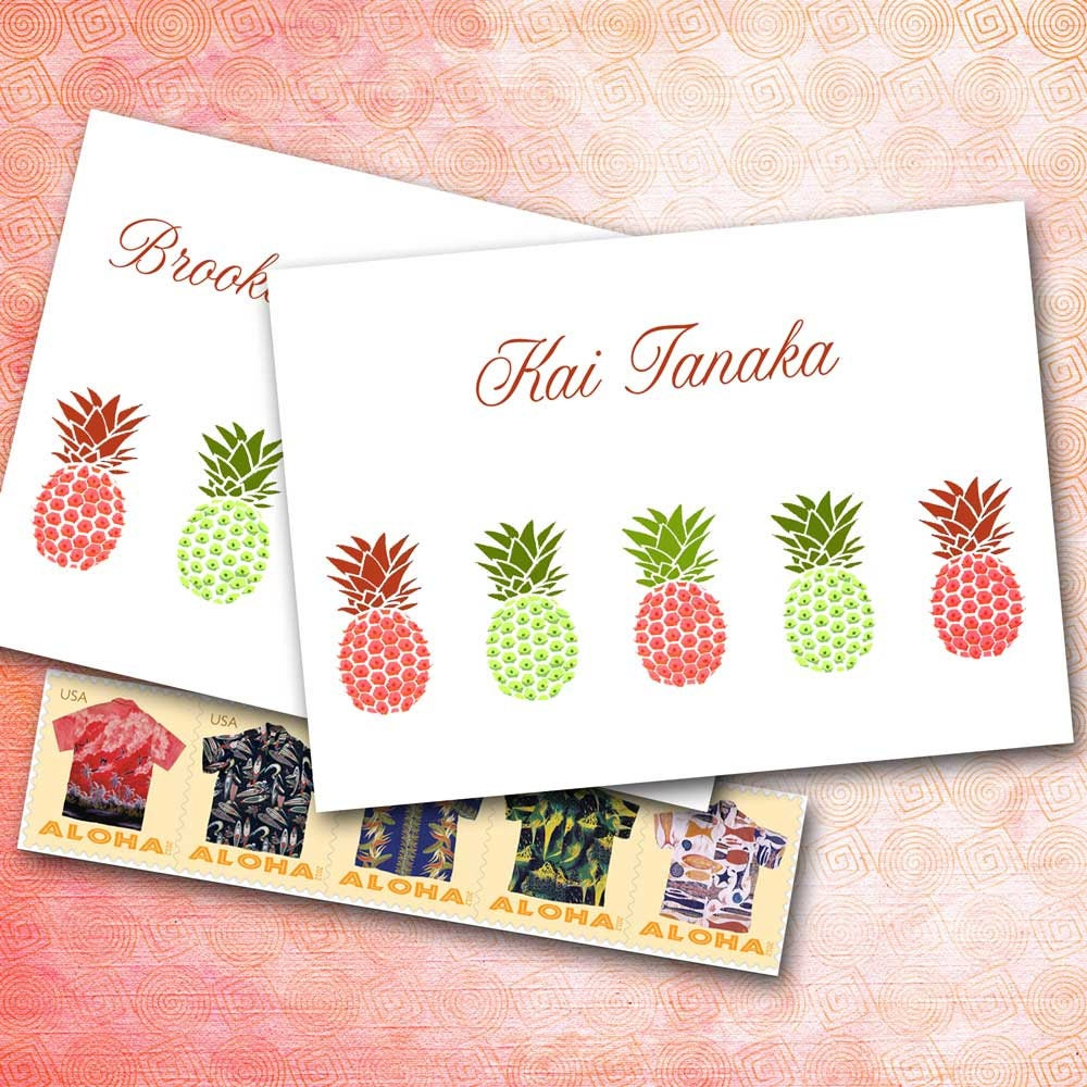 Pineapple Note Cards Personalized Name Custom Monogram | Etsy