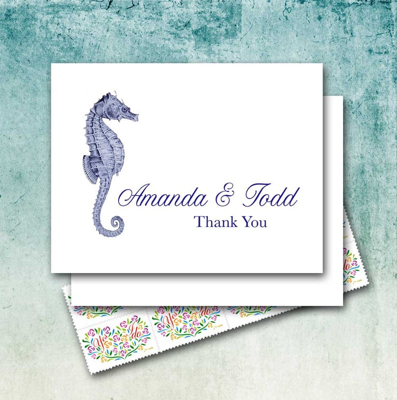 Beach Wedding Thank You Note Cards, Personalized Couple Names, Vintage  Engraved Seahorse, Nautical/Couple Stationery/Set of Ten/Blank Cards