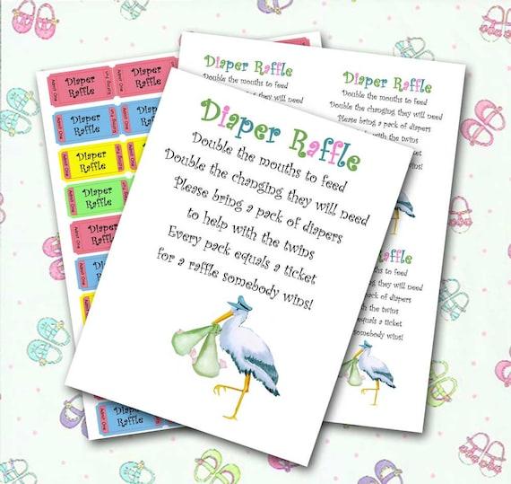 twin diaper raffle baby shower invitation insert and raffle etsy