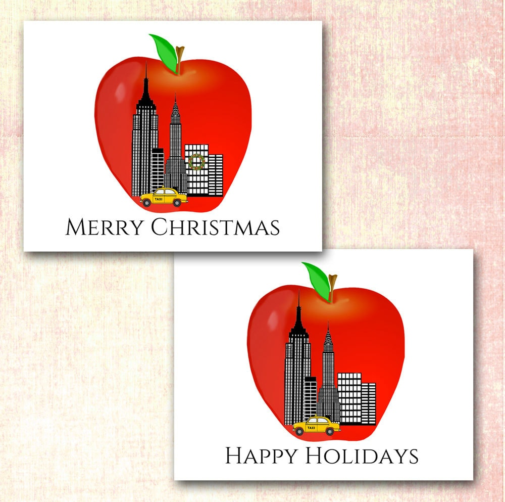New York City Christmas Cards Big Apple New York Skyline | Etsy