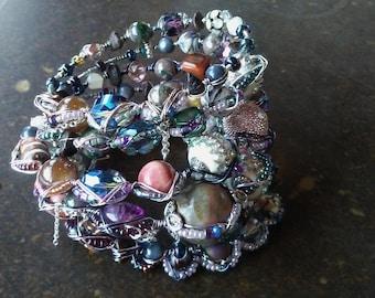 Multi Wrap beaded boho Bracelet, Scheherazade Bracelet, Ethnic Jewelry for her, Arabian inspired boho Wrap, Gypsy, free spirit design