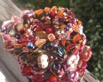 Autumn Harvest Memory Wire Wrap Bracelet, Samhain-Inspired Jewelry, October Gift, Autumn Afternoon Wrap Bracelet, Winery-Inspired, Seasonal