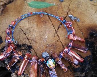 Fire Buddha Choker, Women's Choker, Carnelian Choker, Meditation Jewelry, Buddhist Jewelry, Zen Jewelry, Gift for Enlightenment