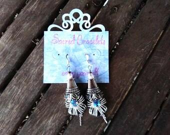 Silver Chandelier Earrings,  Silver Caste Earrings, Silver Caste Crystal Earrings, Silver Blue Crystal Earrings, Silver Statement Earrings
