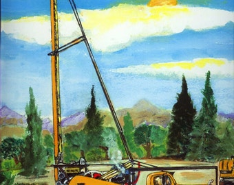 Well Drilling Truck Watercolor Art Print Water Oil Gas  - Nostalgic old Mack drill pounder - Office Home Business Construction Decor Gift