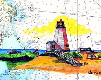 NEDS POINT LIGHTHOUSE Art Print Mattapoisett Buzzards Bay Yacht Club Light Gift