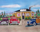 Early Ford V8 Cars Used Car Dealership Personalized Watercolor Art Print ( Your name hand printed on the car dealer 39 s sign )