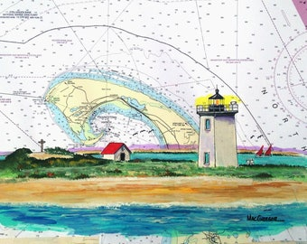 Long Point Lighthouse Nautical Chart Art print Provincetown P-Town Cape Cod MA