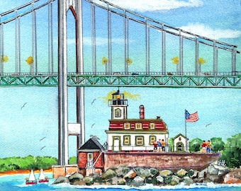 Rose Island Lighthouse and Clairborne Bridge Double Mat Art Print ( with Seals on the rocks in Newport Harbor )