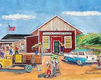 Dover Country Store Art print Dover MA historic bargain used furniture store penny candy Medfield Sherborn Westwood Needham the