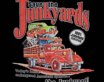 Save the Junkyards Vintage Ramp Truck T-Shirt  (Color Black) -  An vintage retro automotive hot rat rod tee designed by the Junkyard Artist)