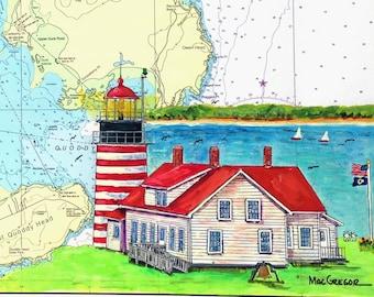 West Quoddy Head  Lighthouse Nautical Chart Art Print Lubec Maine