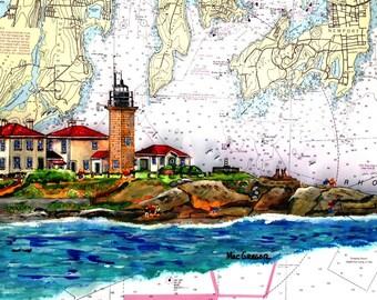Beavertail Lighthouse Jamestown RI New Nautical  Chart Art Print n Beavertail State Park