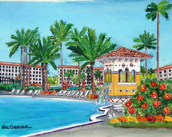 The Main Pool at the Marriott's Grande Vista Art Print Orlando, Florida ( Marriott Vacation Club )