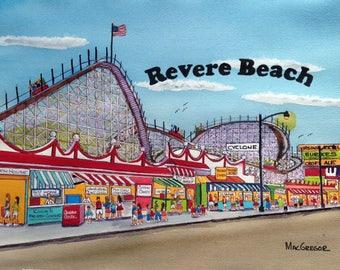 Revere Beach Boulevard Amusement Park Art Print ( Cyclone Roller Coaster, Kellys Roast Beef ) Historic Boston Area Gift