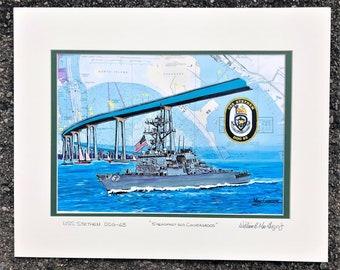 USS Stethem DDG-63  nautical chart art print map poster painting Navy destroyer ship  veteran wardroom change of command gift San Diego base