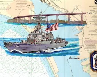 USS Wayne E. Meyer DDG-108 Nautical Chart Giclee Art Print Arleigh Burke Destroyer ( Great Navy Marine Veteran or Active Military Gift )