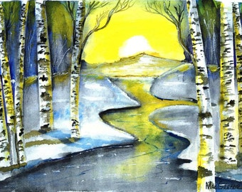 Crisp Winter Morning Art Print - Country folk watercolor abstract painting frozen stream at sunrise -