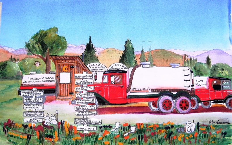 Septic Truck Company Slogans & Outhouse Watercolor Art Print funny jokes (  Add your Name ) Perfect Office Wall Decor or Bathroom gift