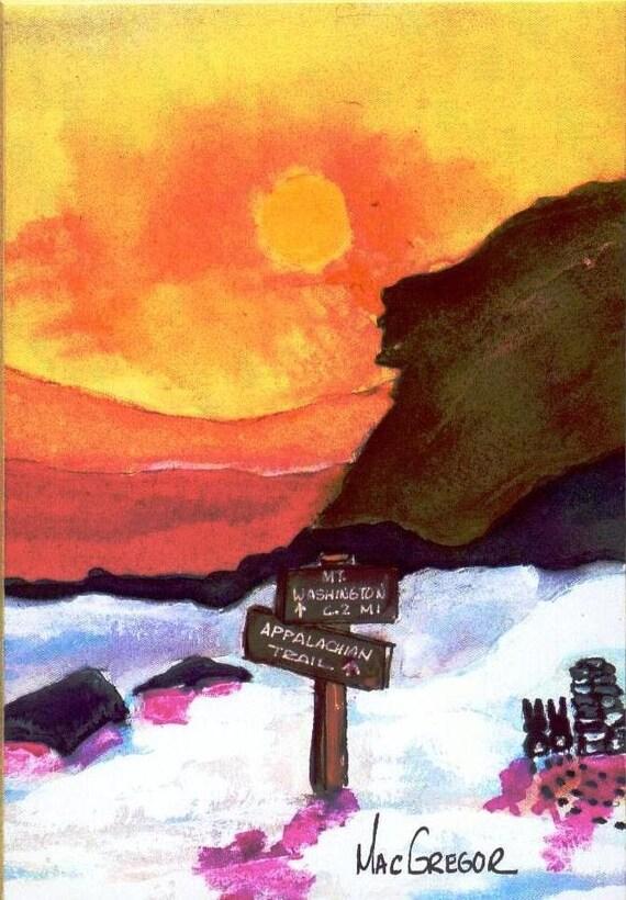 NH White Mountain Hiking Art Print Old Man NH AMC Appalachian Club Mt Hiker gift