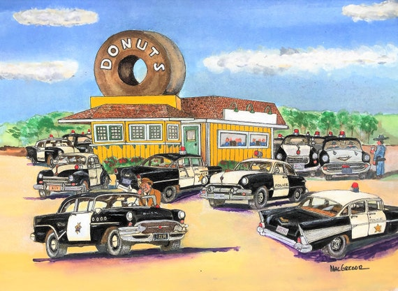 Cops and Donuts Personalized Watercolor Art Print - Your name on the Coffee  Shop's sign- Great Police or Diner Wall Decor Gift