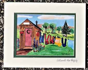 Outhouse Clothesline Art Print Personalized Add your name onto the shed's sign laundry room bathroom cabin wall decor funny gift painting