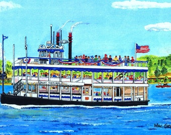 Becky Thacher Riverboat (Essex Steam Train Junction and Riverboat)  Art Print Connecticut River CT