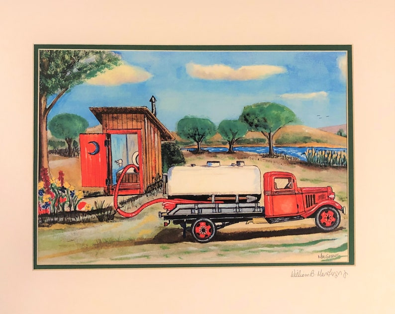 Personalized Septic Truck Pumping Out an Outhouse Art Print ( Add your Name  onto the Trucks Tank ) Perfect Office Wal decor or gift