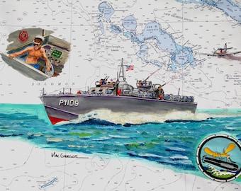 PT109 Nautical Chart Art Print Historic rendering scene of John F Kennedy during World War 2