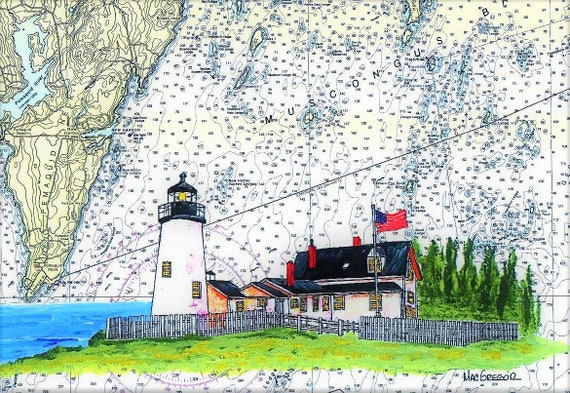 Pemaquid Point Lighthouse Art Print New Harbor ME Light poster gift ocean Gift