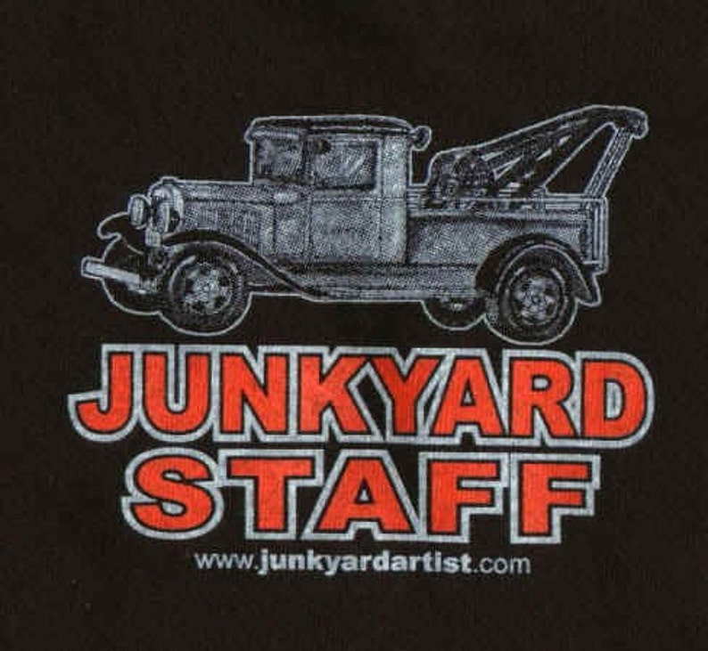 Vintage Junkyard Flatbed Car Hauler T-Shirt- Rusty metal Black -Old skool t-shirt for grandpa, son dad or boy friend  gift