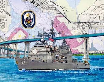 USS Mobile Bay CG-53 nautical chart art print painting Missile Cruiser Navy ship sailor veteran or wardroom military gift Civil War battle