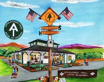 Half way on the Appalachian Trail Art Print-Maine to Georgia- Great Hiker gift-Pine Grove Furnace State Park, Gardners, PA
