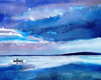 Early Morning Misty Canoe Art Print - Country folk blue watercolor abstract painting boating or fishing on a mountain lake