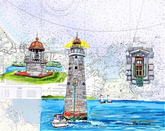 Minots Ledge Lighthouse nautical chart art print Offshore of Cohasset and Scituate MA Lovers Light