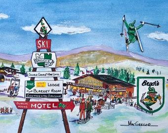Brodie Mountain Ski Resort Watercolor Art Print - ski resort in New Ashford, Massachusetts - Gift for a skier snow boarder