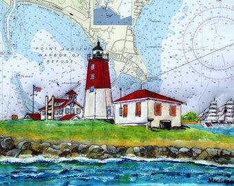 Point Judith Lighthouse New Art Print Narragansett, RI Rhode Island ( Point Judith Coast Guard Station )