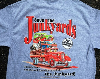 Save the Junkyards Tow Truck T-Shirt  (Color Sport Grey) -An vintage automotive hot rat rod tee and a perfect gift