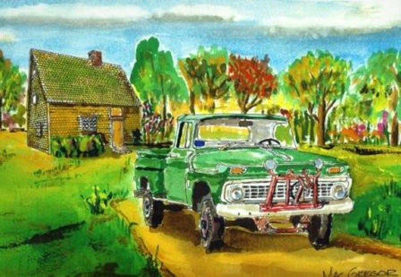 Floyd/'s green pinstriped truck and the historic Peak House Art Print Medfield MA watercolor painting wall decor gift