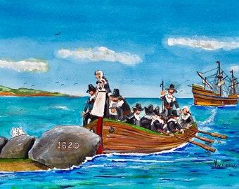 Pilgrims landing at Plymouth Rock in 1620 watercolor art print Mayflower tall ship Pilgrim Memorial State Park Pier Plymouth, MA