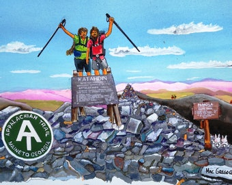 End of the Appalachian Trail Art Print-Maine to Georgia- Great Hiker gift-Baxter State Park