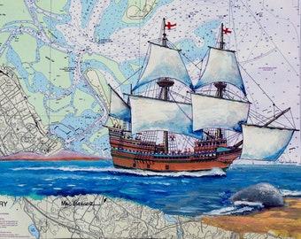 Mayflower 2 nautical chart art print map - Tall ship boat Pilgrim plantation 1620 state pier plymouth harbor MA sailor history teacher gift