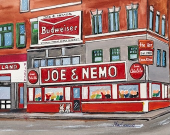 Joe and Nemo watercolor art print - Hot Dog dogs franks restaurant neon sign Scollay square Boston MA