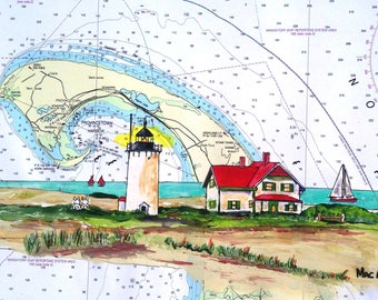 Woods End Lighthouse Nautical Chart Art print Provincetown P-Town Cape Cod MA