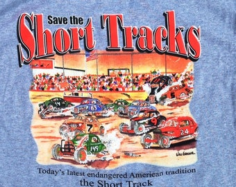 Save the Short Tracks T-Shirt ( Color Sport Grey ) - An old skool vintage stockcar racing tee gift or racing fan in your family)